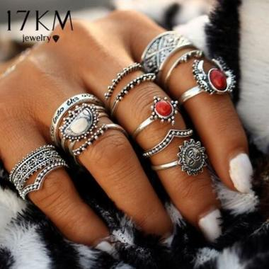 14pcs/Set Vintage Silver Color Moon And Sun Midi Female Ring Sets for Women 2017