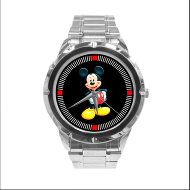 Mickey Mouse Custom Casual Stainless Steel Band Dress Wrist Watch