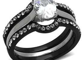 Oval CZ Three Band Set, Sizes 5-10