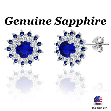 3.50 CTTW Blue and White Sapphire Flower Earrings in Sterling Silver