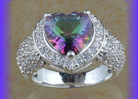 Radiant Sz 6.5 Heart-Shaped Enhanced Rainbow Ring