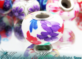 {20} Polymer Clay Tropical Euro Beads 15mm #109