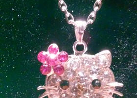 Adorable Hello Kitty Rhinestone Necklace