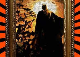 Batman at Sunset with Bats Book Page Print