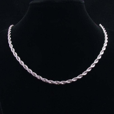 Silver Plated 2MM Rope Chain 20