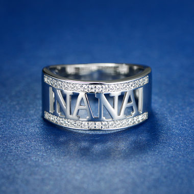 NANA Ring Made with Swarovski Elements in 18K White Gold Plated Brass