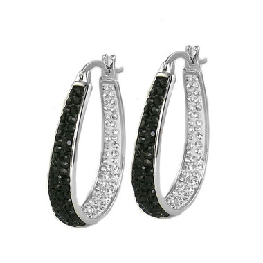 18Kt White Gold Plated Austrian Crystal Black &White Inside Outside Hoop