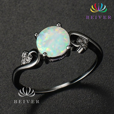 Luxury 2.0 cttw Synthetic Opal Ring in Black Gold Plated