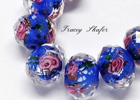 Deep Blue Faceted Sweetheart Rose GLW Beads