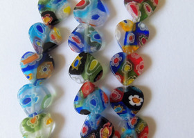 Millefiori Heart Beads