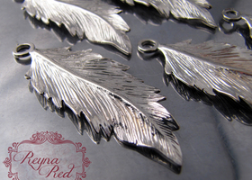 Silvertone Brass Feather Charms/Pendants - 5 pcs