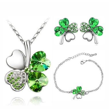 Clover Charm Chain Floating Heart Pendant 4 Leaf Leaves Necklace Earrings Bracel