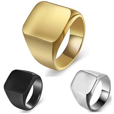 Men jewelry titanium square smooth surface ring