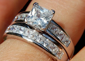 Sz5-10 Princess Cut 5.5 Ct Cz2Pc Wedding Ring Set