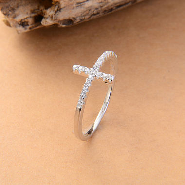 WGP or Black Gun Simple and Stylish Sideways Pave Set CZ Cross Ring