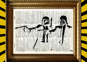 Fett Vader Pulp Fiction Book Page Print