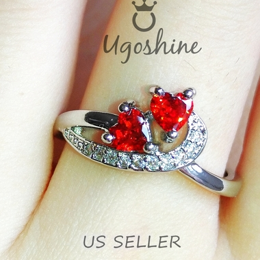'Passon of fire'  Double Red Topaz Heart Shaped Ring