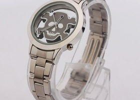 Skull and Cross Bones Cut Out Stainless Steel Watch