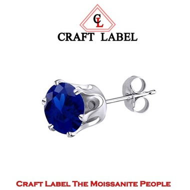 1.50 Ct Round Cut Blue Sapphire 14K Gold Men's Stud Earring