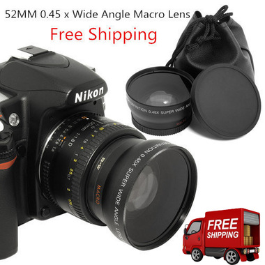 Free Shipping High Quality 52MM 0.45 x Wide Angle Macro Lens
