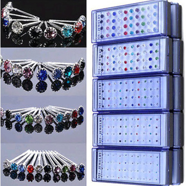 Women's Girl's 40 pcs Silver Plated Stud Earrings 2mm 3mm 4mm 5mm 6mm
