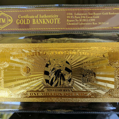 Limited 99.9% 24k Gold Foil Polymer Collectors US $1,000,000 with Certificate of