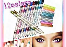 12pc Set Of Sparkly Fun Colored Crayon Eye/Lip Liners