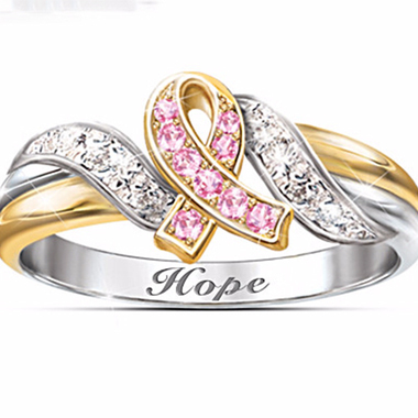 18K White & Yellow Gold Plated Pink Hope Engraved Ring