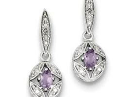 Genuine Amethyst Diamond Post Dangle Earrings