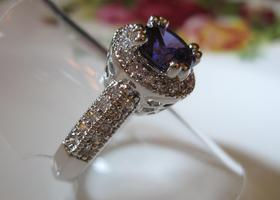Size 9 Gorgeous 2CT Crown Set  Lab Amethyst Ring