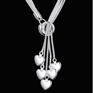 Silver Dangling Hearts Lariat Necklace