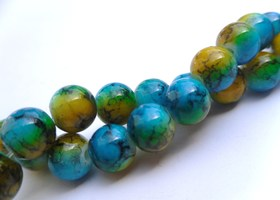 *100 8mm Blue and Yellow Mottled Glass Beads