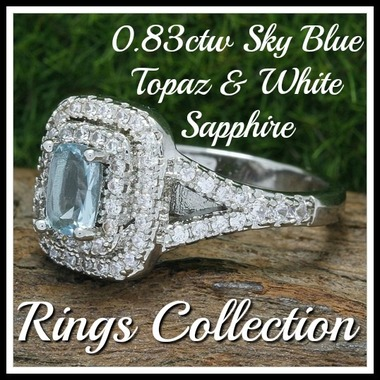 0.83ctw 14k White Gold Filled, Beautifully Created Fine Sky Blue Topaz & White S