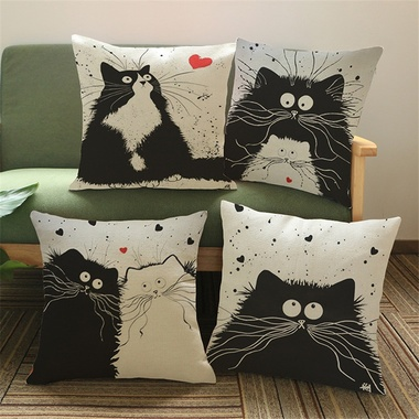 Cartoon Linen Cotton Blend Cushion Cover Home Office Sofa Square Cat Pillow Case