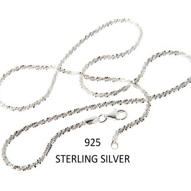 Stunning.925 Stamped Italian Sterling Silver Rock Chain Necklace