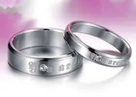 (2 pcs)His & Her You Are Mine/CZ  Couple Rings