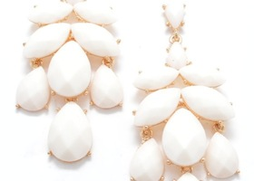Precious Gem Statement Earring White