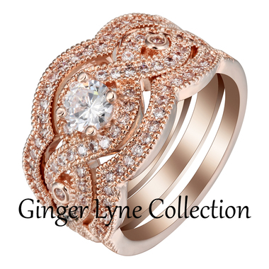 Rose Gold Plated Bridal Wedding Engagement Band Ring Set Ginger Lyne Collection
