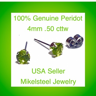 Gorgeous 100% Genuine Peridot  Gemstone Earrings 18K White Gold Over Sterling Si