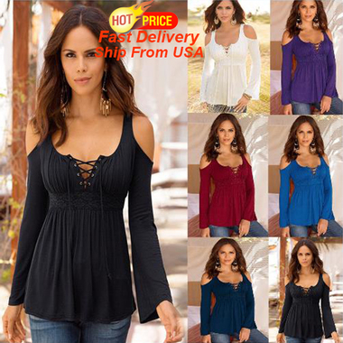 Womens Fashion V neck Off Shoulder T Shirt Long Sleeve Blouse Tops