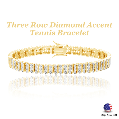 Three Row Diamond Accent Tennis Bracelet 18K Gold