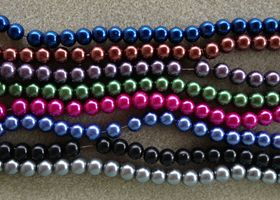 * Assorted Jewel Tone 8 mm Glass Pearls