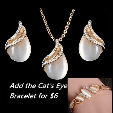 3pc lab created opal set. For a limited time add the cat's eye bracelet for only