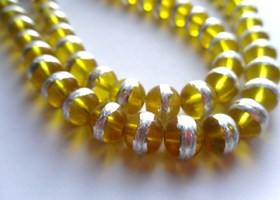*1 Strand 32 inches Yellow with Silver Stripe 8mm Beads