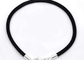 5 Black Leather Euro Bead Style Bracelet