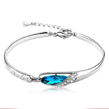 Fashion Bracelet 925 Sterling Silver Jewelry Double Crystal Bracelet For Women