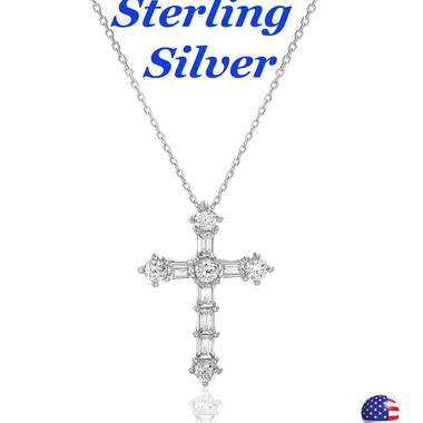 Sterling Silver Cubic Zirconia Baguette Cross Pendant Cable Chain Necklace