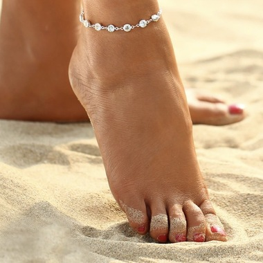 14K White Gold Plated Luxury CZ Anklet