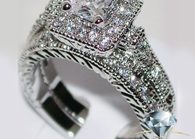 Stunning Princess Cut Cz Wedding Bridal Set
