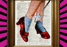Dorothy Ruby Slippers Wizard of Oz Book Page Print